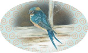 Swallow sitting on old sill, oval envelope sticker seal
