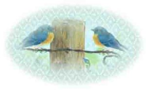 bluebirds on fencepost oval seal