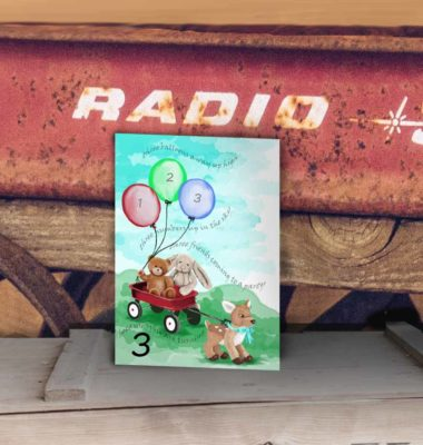 third birthday card front balloons red wagon stuffed animals