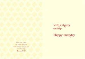 card inside birthday cherry on top