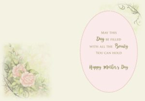 garden mother's day card inside peach roses