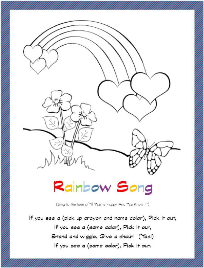 Rainbow Hearts and Butterfly Coloring